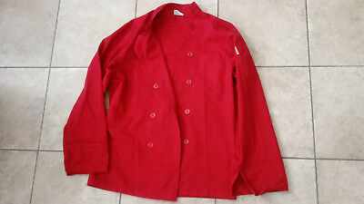 CHEF WORKS Red Long Sleeve Chef Uniform Jacket Coat Unisex S