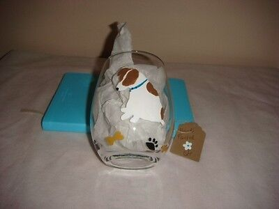 Jack Russell dog Hand Painted stemless wine or beverage glass