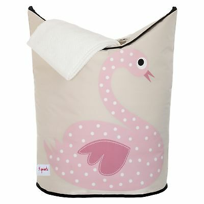 3 Sprouts Baby / Child / Kids Laundry Hamper/Clothes Basket - Pink Swan