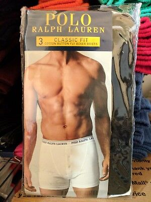 Polo Ralph Lauren Classic Fit Three 3 Pack Cotton Button Fly Boxer Briefs BLACK