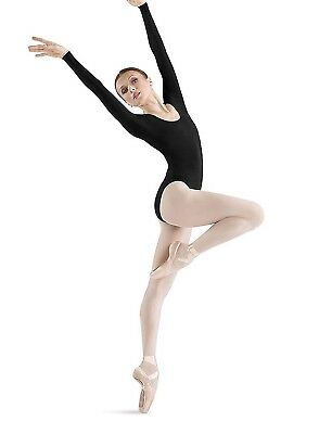 (Petite, Black) - Bloch Women's Round Neck Long Sleeve Dance Leotard. Best Price