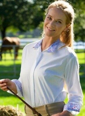 (28, White) - Devon-Aire Women's Nouvelle Stretch Long Sleeve Shirt. Devon Aire