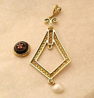 Antique Victorian Vintage10K Gold Broken Dangle Pendant