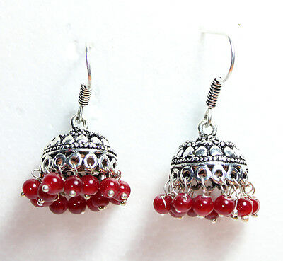 Fashion Earring 2 Pc Beautiful Vintage Black Metals with Red Beads - 70 Carat