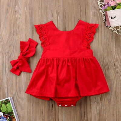 Baby Girls Kids 2Pcs Outfit Set Floral Princess Dress Lace Romper Skirt Headband