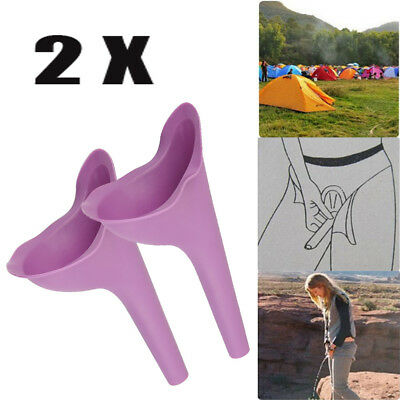 2x Portable Female Woman Ladies She Urinal Urine Wee Funnel Camping Travel Loo