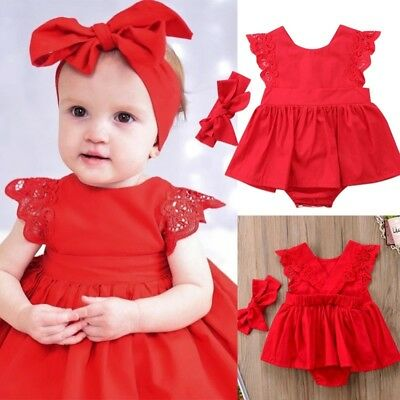 AU Christmas Baby Girls Sister Kids Xmas Lace Romper Dress Party Dresses Costume