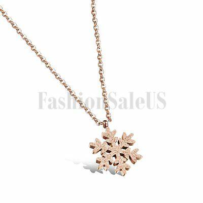 Rose Gold Tone Stainless Steel Womens Snowflower Pendant Necklace Christmas Gift