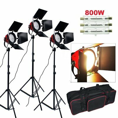 3x800W Kit de Lumière Continue Red Head Vidéo Photo Studio 3 Support Ampoule FR