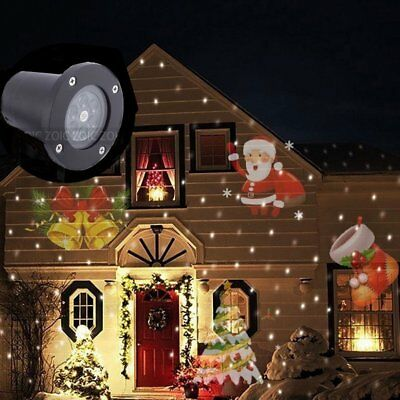 LED Projector Christmas Xmas Party Fairy Light Moving Santa Laser 12V Lamp IP44