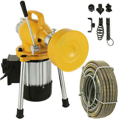 "3/4""-4""Dia Sectional Drain Cleaner 400W Pipe Sewer Cleaning Machine w/ Cutters"