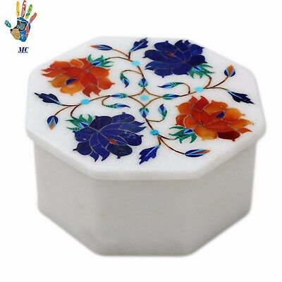 Marble Marquetry Inlay Octagon Jewelry Box Pietra Dura Handmade Gift.