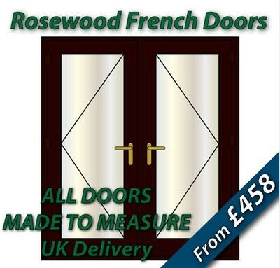Rosewood uPVC French Doors - NEW - BRASS handles, GOLD spacer bars
