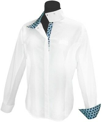 (32, White) - Equine Couture Ladies Geo Show Shirt. Best Price