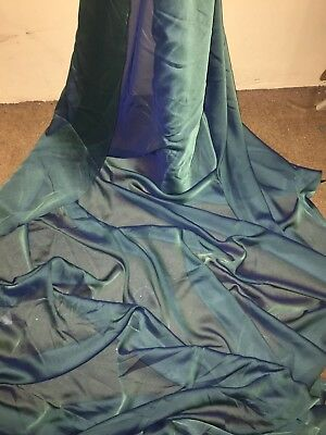 "10 Mtr Green Cationic Two Tone Sheer Bridal Dress Chiffon Fabric...58"" Wide £25"