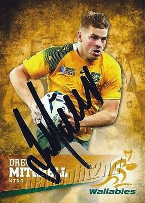 ✺Signed✺ 2016 WALLABIES Rugby Union Card DREW MITCHELL