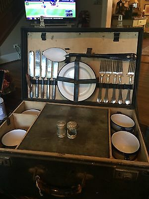 Very Rare Antique Early 1900's Picnic Traveling Set Ice Box Enamelware Model T