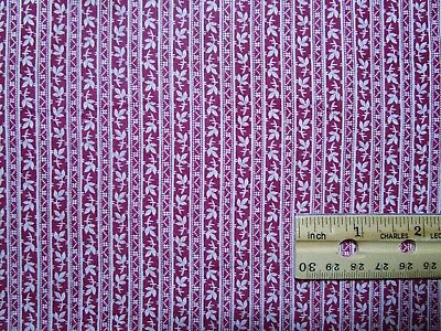 """Antique Fabric 1800's Dress Print Wine/Calico 24 1/2"""" selvages x 31"""" Dolls Quilt"""