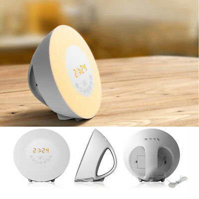 7 Colors LED Wake Up Light Sunrise Sunset Simulation Alarm Clock Atmosphere Lamp