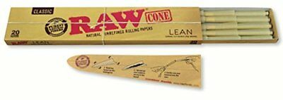 RAW Classic Natural Unrefined Pre Rolled Cones 20 Cones Per Pack Lean Size 1 New