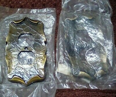2 Vintage Brass Electrical Socket Outlet Cover Plates