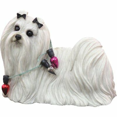 Sandicast Maltese Wearing Holiday Lights Christmas Ornament NEW, Free Shipping