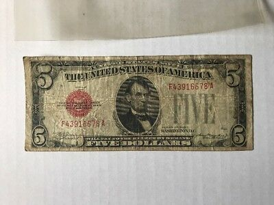1928 C Series $5 Five Dollar Bill Red Seal US Legal Tender Note