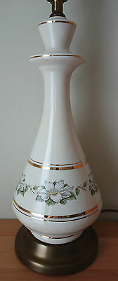 Vintage Antique Hand Painted Dogwood Flower Ceramic Table Lamp Off White Cream