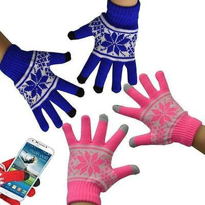 Unisex Christmas Xmas Touch Screen Mobile Warm Gloves iPhone Winter Pink Blue
