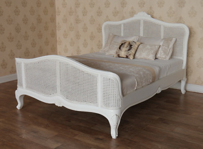 Antique White French Elegance Bed with Rattan Headboard & Footboard NEW B005P