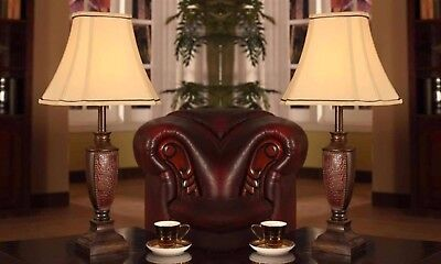Table Lamp Set 2-Antique Style Brushed Brown 3-Way Light Off White Fabric Shade