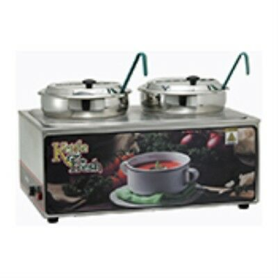 """Twin Soup Merchandiser with Two 7 qt Insets """"Kettle Fresh"""", Winco ESM-27KNB"""
