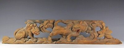 Antique Japanese Wood Element Carving Of Animals Lions