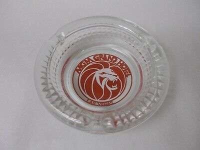Vintage MGM Grand Hotel Casino Las Vegas Clear Glass Ashtray