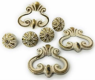Lot of 7 Vintage French Provincial Stationary Gold & White Drawer / Door Handles
