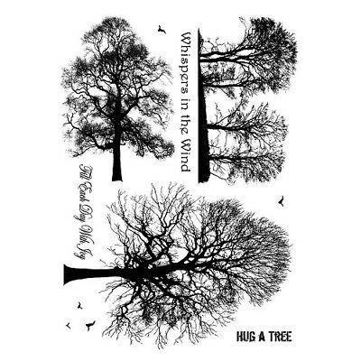 Crafty Individuals WINTER TREES Unmounted Red Rubber Stamp