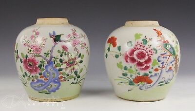 Pair Of Antique Chinese Famille Rose Porcelain Jars With Birds And Flowers