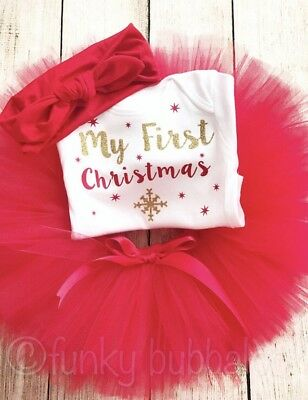 My First Christmas Tutu Outfit Set Baby Girl Bodysuit Vest Photo Prop Red Gold