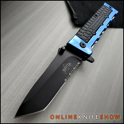 "8.3"" Tactical TANTO BLADE Spring Assisted Open RESCUE Folding Pocket Knife BLUE"