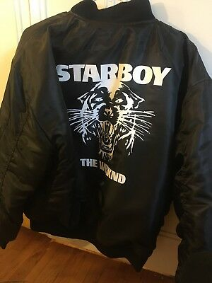 dada675db THE WEEKND STARBOY Alpha Industries MA-1 Bomber Jacket XO MERCHANDISE SIZE M