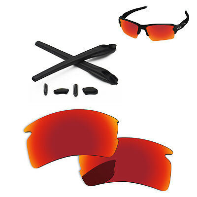 fc26f196b9c Black Rubber Kit +Fire Red Polarized Replacement Lens For-Oakley Flak 2.0 XL