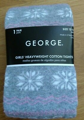 George Girls Gray Snowflake Cotton Tights Size Large 12-14 Heavyweight Christmas