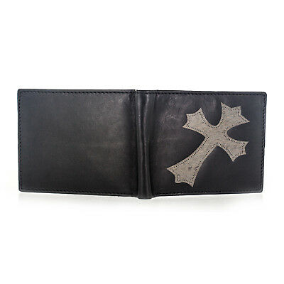 Fashion Black Unisex Cross Leather Bill Bifold with Card Holder Wallet