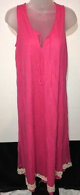 Vintage Gilead Nightie Nightgown Chiffon Nylon Lace Hot Pink Sheer Size Small