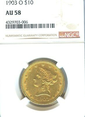 1903 O $10 Liberty Gold NGC AU 58 Early Gold Type Coin New Orleans Mint