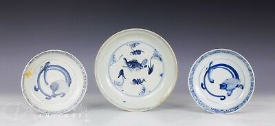 Lot Of 3 Antique Chinese Blue And White Porcelain Plates W Fish Etc