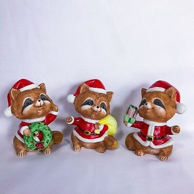 Vintage Christmas Raccoons Set of 3 by Homco