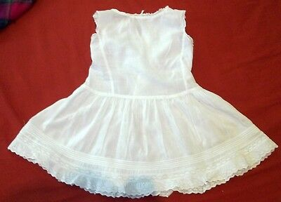 Vintage Baby Infant Girls White Cotton Petticoat Broderie Anglaise Pin Tucks