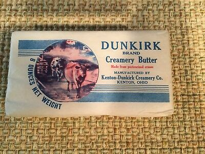 Vintage Creamery Butter Wrapper Kenton Dunkirk Creamery, Kenton, Ohio