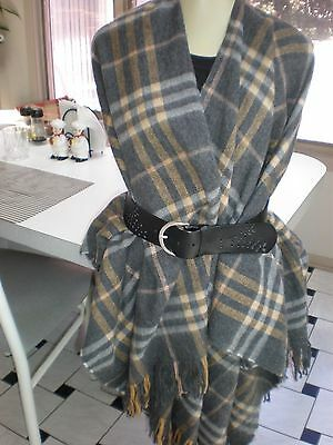 fcc523b74 Gray Black BROWN WHITE ACRYLIC Plaid Wrap Cape Womens One Size PONCHO SOFT
